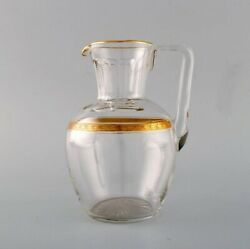 Baccarat, France. Three Art Deco Jugs In Mouth-blown Crystal Glass.
