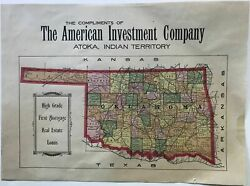 Broadside Railroad Map 9 1/2 X 13 Inches The Counties Colored In Various 1905