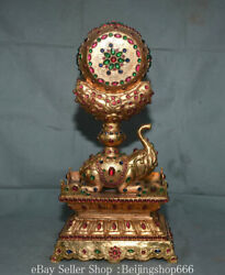 16.4 Marked Old Tibet Copper 24k Gold Gilt Inlay Gems Elephant Drum Statue