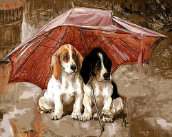 Puppies Taking Red Umbrella Hp Design Needlepoint Canvas E198