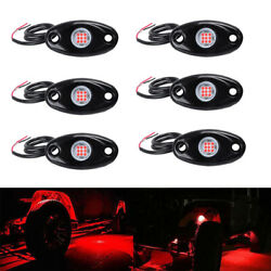 6pcs Red Led Rock Lights Kits For Road Truck Car Atv Suv Motorcycle Under Body
