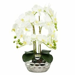 Artificial Flowers Fake Orchids In Silver Ceramic Faux Orchid In Silver Vase