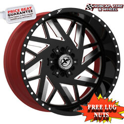 Xf-flow Offroad Xfx-306 24x12 Gloss Black Milled W/ Red Inner Wheel Set Of 4