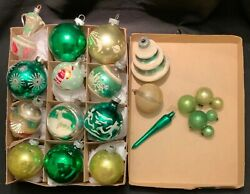 Vintage Green Mercury Glass Christmas Ornaments - Shiny Brite And Others