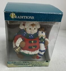 Traditions Collectible Glass Character Ornament Fat Cat Holding Bear Nib