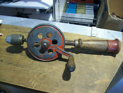 Vintage Hand Crank Egg Beater Style Hand Drill 13 Inches
