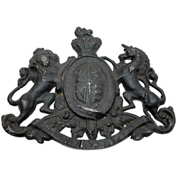 Collectible Historic Small Antique Victorian Lead British Royal Coat Arms Plaque