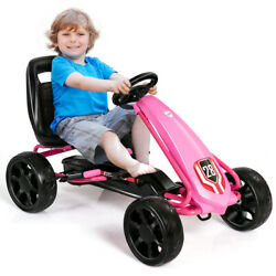 Pedal Go Kart Kids Bike Ride On Toys With 4 Wheels And Adjustable Seat Pink