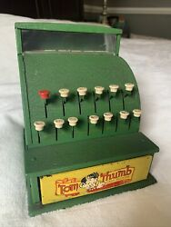 Vintage 1950s Tom Thumb Toy Cash Register - Green - Working Condition