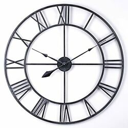 Large Metal Wall Clock, Vintage Industrial Cut Out Open Face 30 Inch Black