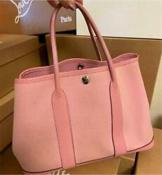 Hermes Garden Party Tote Hand Bag Toile Officier Canvas Leather Rose Pink Used