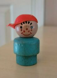 Vintage Fisher Price Little People All Wood Turquoise Boy Red Cap - Snowmobile