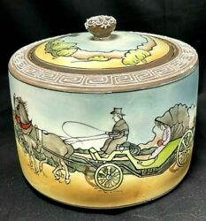 Rare Nippon Humidor Horses Lady In Carraige Home Raised Enamel And Hand Painted