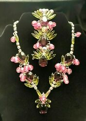 Rare Juliana Delizza And Elster Necklace And Bracelet Olive, Pink And Amethyst
