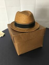 Vintage Knox Straw Fedora Hat New York Best Co 5th Ave And Box Size 7 1/4