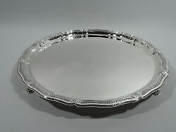 Tray - 20483 - Antique Footed Salver - American Sterling Silver - C 1925