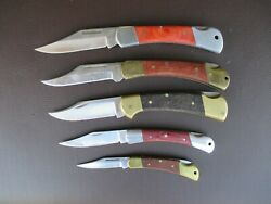 Lot Of 5 Lock Back Wood Handle Pocket Knives Stainless Used Knives Various Maker