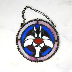 Vtg Looney Tunes Sylvester The Cat Stained Glass Suncatcher Warner Brothers
