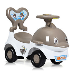 3-in-1baby Walker Sliding Car Pushing Toy Cart Ride On Toy W/ Sound Gray