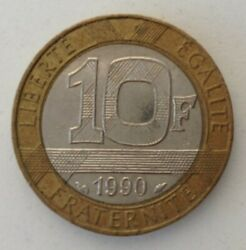 French 10 Francs Coin 1990 From Circulation