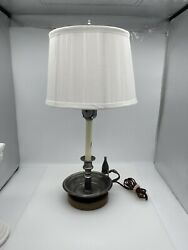 Vintage Pewter Chamberstick/taper Candleholder Lamp W/ Shade