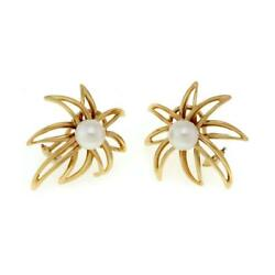 And Co. 1994 Fireworks Pearls 18k Yellow Gold Post Clip Earrings