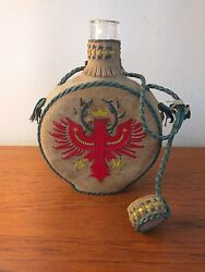 Vintage Leather Covered Glass Flask Bottle Canteen 18cms Tall