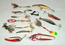 Vtg Lot Fishing Lures Spinners Rooster Tail Mepps Dardevle Spoon Feather Metal