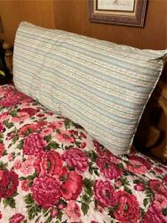 Vintage Farmhouse Feather Pillow Floral Ticking Stripes Roses 36 Long Down