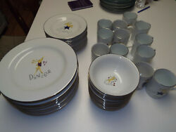 New 48pc 12 Each Dinner And Salad Plates Cereal Bowls Mugs Pottery Barn Reindeer