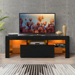Dmaith Tv Stand With Led Lights, 1 Drawer And Open Shelves High Gloss Entertainm