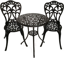 Innfinest 3-piece Patio Bistro Dining Set - Cast Aluminum Table And Chairs - - -