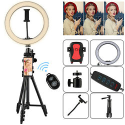 10 Dimmable Led Ring Light Phone Holder Tripod Stand For Youtube Video Selfie