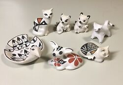 7 Vintage Acoma Tiny Animals Black Red Tan Pottery Some Signed