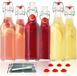 Swing Top Glass Bottles - Set Of 6, 16oz W/ Marker And Labels - Clear