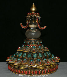 12 Old Tibet Filigree Crystal Turquoise Red Coral Stupa Pagoda Tower Sculpture