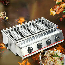 4 Heads Lpg Gas Barbecue Grill Oven Natural Gas Commercial Smokeless Bbq Grill