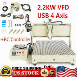 Usb 4 Axis Cnc Router Engraver 6090 Wood Carving Milling Machine 2200w + Remote
