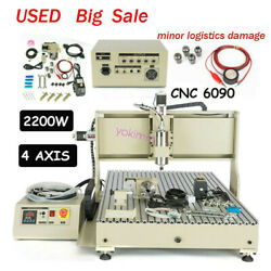 Cnc 6090 4axis Router Engraver 2.2kw Vfd Engraving Milling Machine Usb Used Usus