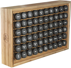 Allspice Wood Spice Rack, Includes 60 4oz Jars- Bamboo