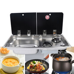 Boat Caravan Rv Camper 2 Burners Lpg Gas Stove Hob And Sink Combo With Faucet