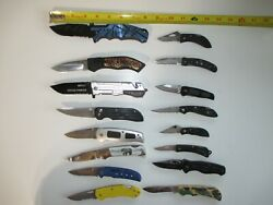 1 Lot Of 16 Previously Owned / Used Folding Lock Back Pocket Knives