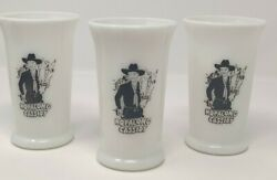 Hopalong Cassidy Tumblers Tall Milk Glass Cups Lot Of 3