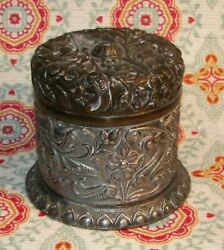 Vintage Silver Plated Round Ornate Tobacco Stash / Change Container W/ Lid