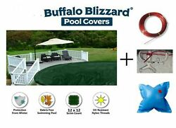 Buffalo Blizzard Deluxe Round Swimming Pool Winter Cover With 4and039 X 4and039 Air Pillow