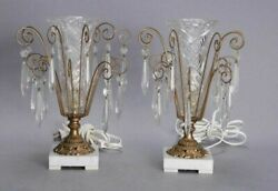 Pair Of Vintage Antique Victorian Boudior Parlor Table Lamps With Prisms