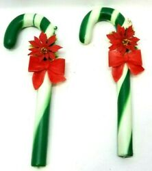 Lot Of 2 Vtg 9 Candy Cane Plastic Ornament Green Stripes Red Bow And Flower J7