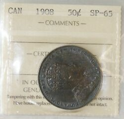 1908 Canada 50 Cents Specimen Coin Iccs Sp65. Extremely Rare