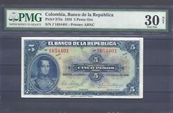 Colombia Banknotes 5 1926 Pmg Certified 30 Net Very Fine