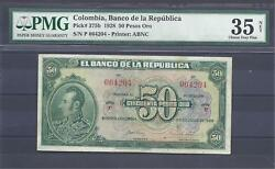 Colombia Banknotes 50 1928 Pmg Certified 35 Net Choice Very Fine
